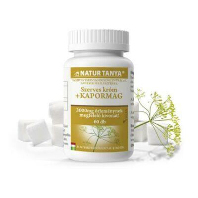 Natur Tanya® 3000mg Kapormag kivonatot és 120mcg szerves krómot tartalmazó étrend-kiegészítő tabletta